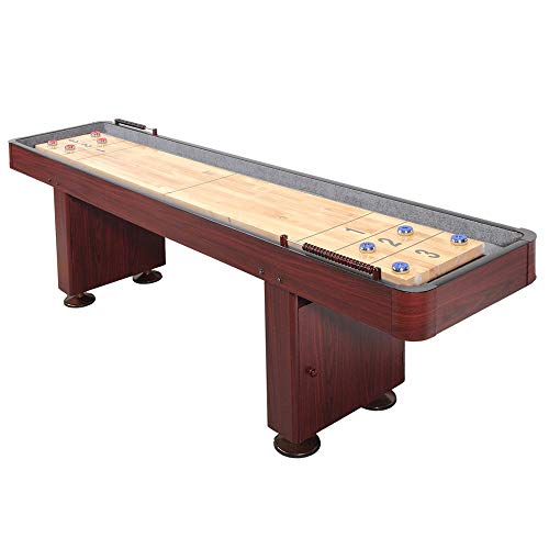 Challenger Shuffleboard Table with Dark Cherry Finish, Hardwood Playfield, Storage Cabinets, Climate Adjusters, Leg Levelers, 8 Pucks, Brush and Wax