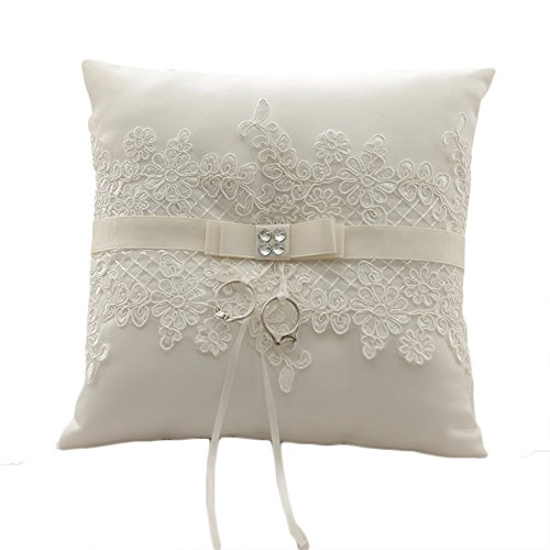 Lace Pearl Embroided Satin Flower Wedding Ring Bearer Pillow 7.8 Inch x 7.8 Inch (Ivory Satin)