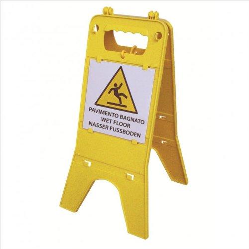Warnaufsteller Warnschild individuell - mit Klemmlaschen gelb 30x58 cm austauschbar