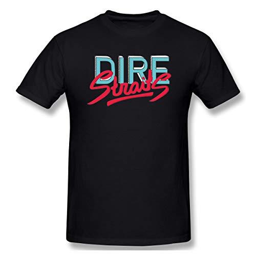 SlenTee Men Dire Straits Band Logo Suitable T Shirts Black 4XL