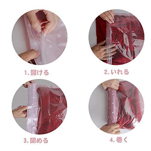 VIPITH衣類圧縮袋旅行収納袋手巻き防塵防湿ダニ、カビ対策省スペース繰り返し利用可能家庭/旅行/出張/引越し用(L*6+M*4)10枚組長期保証付き