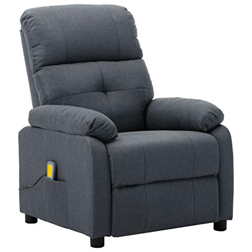 vidaXL Massagesessel mit Heizmassagefunktion 6 Massageprogrammen Fernsehsessel Relaxsessel Liegesessel TV Sessel Ruhesessel Hellgrau Stoff