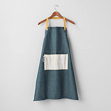Hearth and Hand with Magnolia Yarn Dyed Apron Blue/Yellow Joanna Gaines Collection Limited Edition
