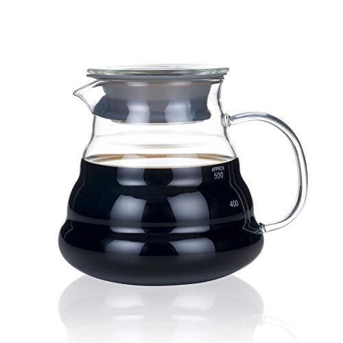 BLUE BREW Borosilicate Glass Coffee Server, 600 ML, Clear