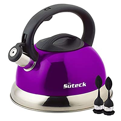 Whistling Tea Kettle 3.3 Qt Tea Pot Stainless Steel Hot Water Teapot for ALL Stovetops 2 FREE Infusers Included?Purple