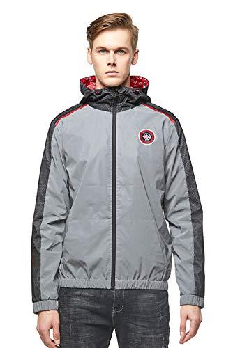 Extreme Pop - Sudadera con capucha con cremallera y camuflaje con estampado reflectante, diseño de Reino Unido plata L