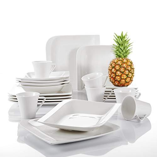 Vancasso Gitana 30-teilig Geschirrset aus Weißem Porzellan, Eckiges Kombiservice, mit je 6 Kaffeetassen, Untertassen, Dessertteller, Essteller und Suppenteller für 6 Personen
