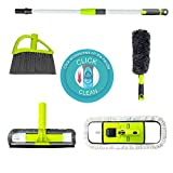 Guay Clean Home Cleaning Kit with Telescopic 4 Ft Pole - Includes: Microfiber Mop, Broom, Adjustable Duster and Window Squeegee Cleaner - 4 Piece Set Multi-Function Attachments - Green