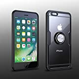 iPhone 6 Plus/iPhone 6S Plus Case | Transparent Crystal Clear Cover | Carbon Fiber Trim & Rubber Bumper | 360° Rotating Magnetic Finger Ring| Kickstand | Compatible with iPhone 6+/iPhone 6S+ - Black