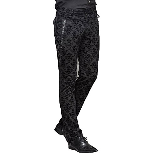 Devil Fashion Men Court Lange Hosen Gothic Jacquard Side Lace Casual Hosen, S