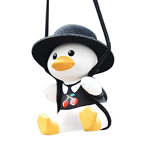 Swinging Duck Car Hanging Ornament,Cute Swing Duck On Car Rear View Mirror Pendant, Auto Decoration Ornament Accessories (H)
