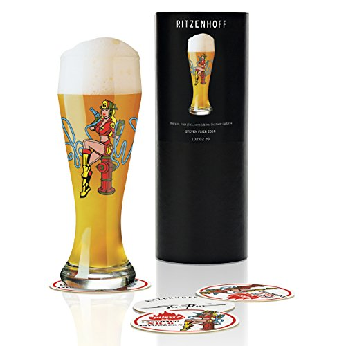 RITZENHOFF Weizen Weizenbierglas von Steven Flier, aus Kristallglas, 500 ml, mit fünf Bierdeckeln