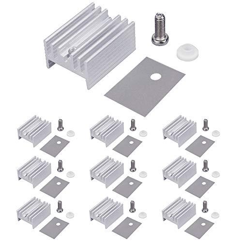 WayinTop 10Set Aluminium TO-220 Kühlkörper Montagesets Kits, Kühlkörper + Schraube + Unterlegscheibe + Isolierer gummiertes Silikon für TO-220 MOSFET-Transistor/LM78XX Spannungsregler(20mmx15mmx10mm)