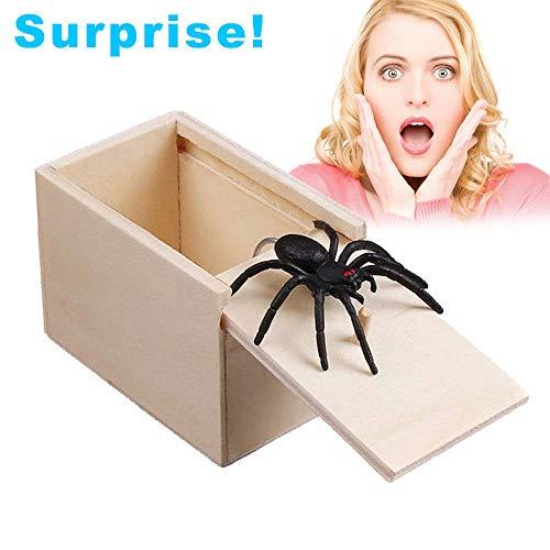 Turbobm Holz Spinne Streich Scare Box, Streich Spinne Scare Box Fall Witz lebensechte lustige Überraschung Gag Spielzeug für Halloween-Party Gefälligkeiten und Dekoration
