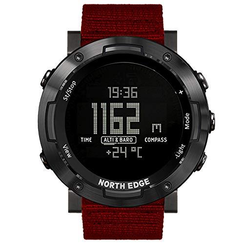 Wan&ya Reloj Inteligente Deportivo para Hombre Reloj Digital Militar al Aire Libre Altímetro Barómetro Temperatura 50M Reloj de brújula Impermeable Montañismo Correr Reloj con Correa de Nailon,Rojo