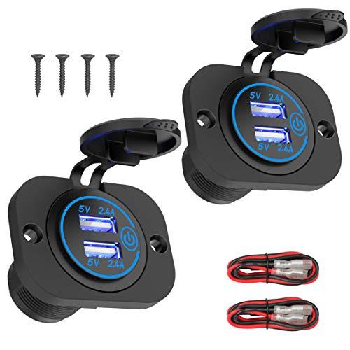 Paquete de 2 paneles de tomacorrientes USB de 12 V con interruptor táctil, cargador de coche USB de carga rápida dual de 5 V 24 W y 4,8 A, adaptador de mechero impermeable para coche, barco