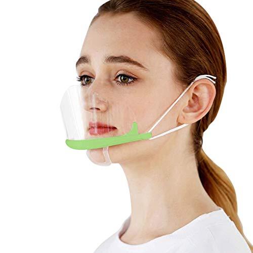 FEOYA Protección Facial Transparente Mujer Hombre 10 Piezas Visera Protectora Anti-Saliva Anti-polvo Reutilizable Decoración Facial Verde