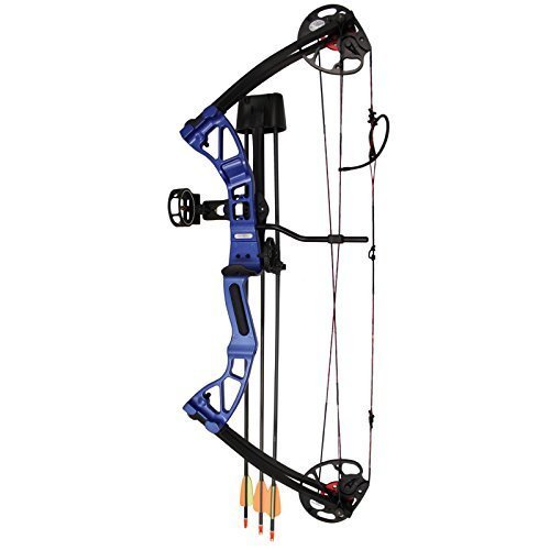 Southland Archery Supply SAS 25-55 Lb 20-29'' Adjustable Quad Limb Compound Bow Package with 3-pin Sight, Arrow Rest, Quiver and Arrows (Blue)