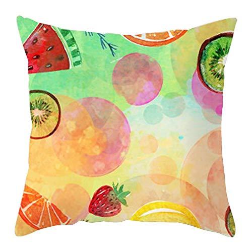 Hugyou Funda de almohada de estilo moderno creativo colorido patrón de frutas funda de almohada reposacabezas para decoración de fiesta