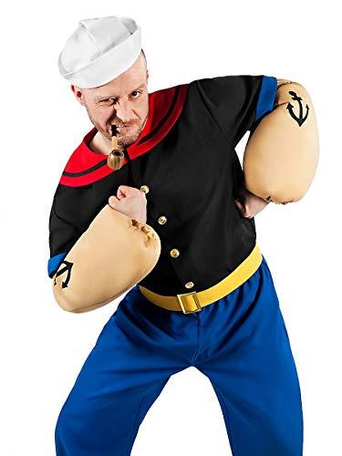 Popeye Comic Seemann Kostüm 6-teilig mit Hemd, Hose, Muskel-Armen und Matrosenmütze (XL)