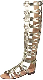 Atta 17 Womens Knee High Caged Gladiator Strappy Flat Sandals