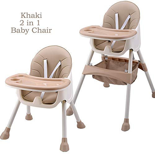Baby High Chair with Double Removable Tray, Multi-Function Height-Adjust, Feeding Dining Chair for Baby/Toddlers Khaki