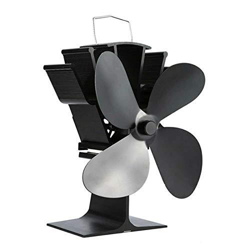 LEERAIN Ventilador de chimenea de 4 aspas, aluminio, silencioso, para quemadores de madera, chimenea, color negro