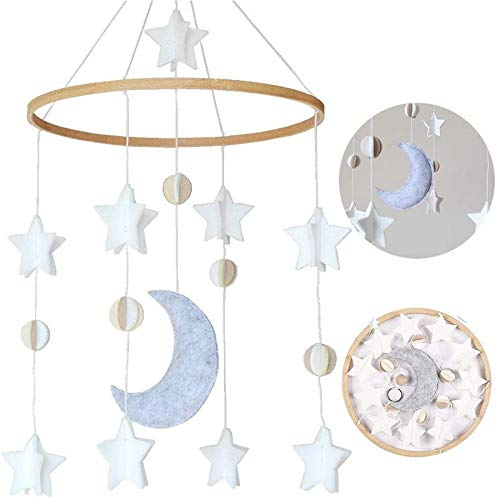 Móviles Para Bebé Decoracion Colgante,Móvil Para Cuna,Móvil Cuna Bebé,Móvil Musical,Móvil Cuna Decorativo,Móvil cuna,Campanas Viento Bebé (Mond + Sterne)