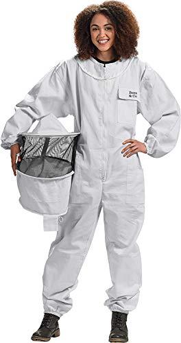 Bees & Co U73 Tuta Cotone Naturale con Cappello Maschera Rotonda per Apicoltore, Bianco, XL