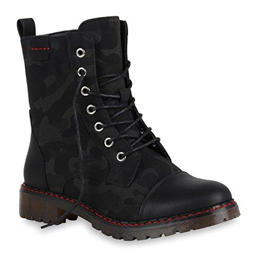Damen Outdoor Stiefeletten Worker Boots Camouflage Print Schuhe 150070 Schwarz Prints 36 Flandell