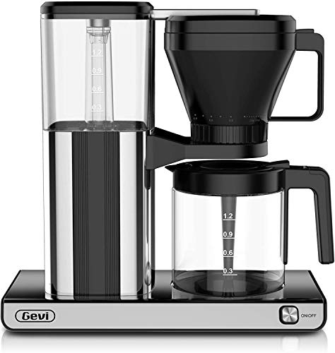 Coffee Maker 8 Cup with with Warming plate and Auto-off function, Drip Coffee Machine with 1.25L/42oz Clear Water Reservoir, Removable Filter, Anti-Dry Burning Function, Silver, 1450W
