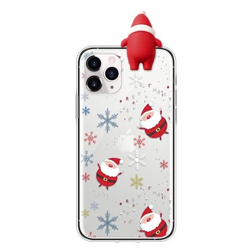 Eouine Capa de Natal para Huawei P20 Lite 2019 [6,5 polegadas] Capa de telefone de silicone transparente com estampa e boneca de Papai Noel 3D, antiarranhões à prova de choque macia para Huawei P20 Lite