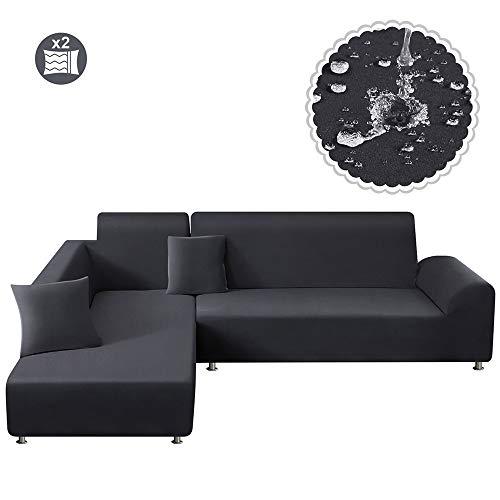 TAOCOCO Funda para sofá Funda elástica Impermeable para Juego de 2 en Forma de L con Funda de Almohada de 2 Piezas (3 plazas + 3 plazas, Gris Oscuro)