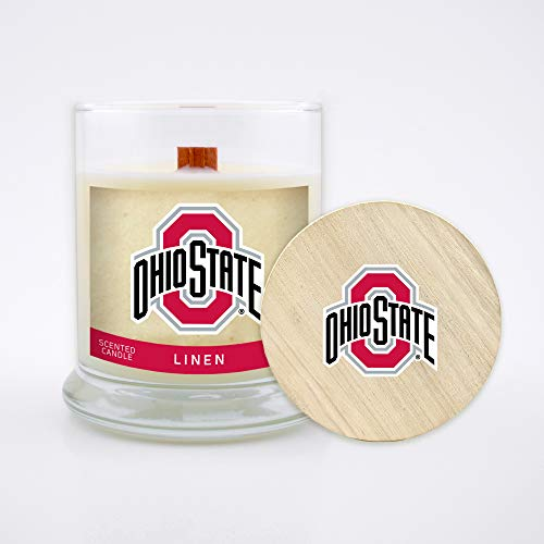 NCAA Ohio State Buckeyes 8 oz Linen Scented Soy Wax Candle, Wood Wick and Lid
