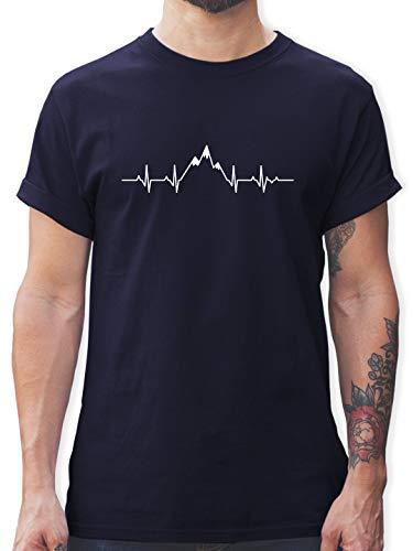Symbole - Herzschlag Berge - XXL - Navy Blau - Shirt Herzschlag Berg - L190 - Tshirt Herren und Männer T-Shirts