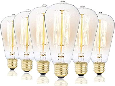 Edison Bulbs, Rolay 40w Dimmable Industrial Pendant Filament Light Bulbs with Vintage Antique Style Design for Pendant Lighting, Wall Sconces, Ceiling Fan and Chandeliers - 160 Lumens – 6 Pack