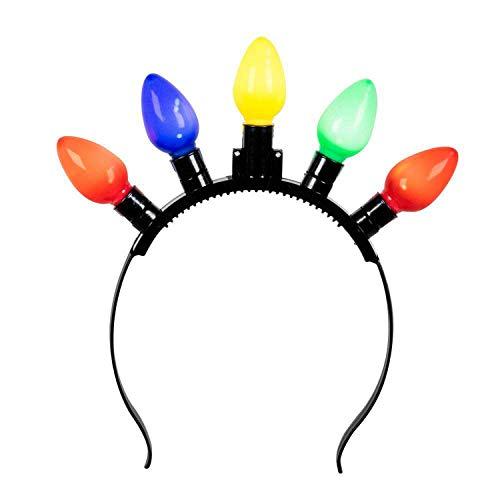 Boland 31201 - Party-Tiara mit LED, Haarreif mit Beleuchtung, mehrfarbig, für Erwachsene, Kopfschmuck, Glühbirnen, Karneval, Fasching, Fastnacht, Mottoparty, Halloween