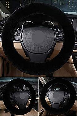 Black Fluffy Sheepskin Wool Steering Wheel Cover for Women - Fuzzy Furry Steering Wheel Cover for Car - Universal Elastic fit 14'' 15'' 16''