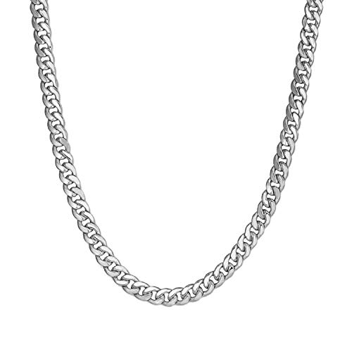 Collar Hombre de Acero Inoxidable plata Cadena Cubana de Eslabones Cuadrados Ancho 6/10/12MM, 36/46/51/55/61/66/71/76cm Joyas en Caja (6mm-Silver, 51)