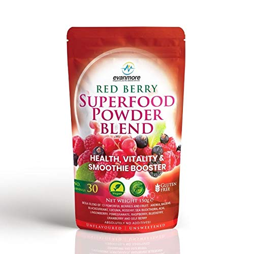 Red Berry Superfood Powder Blend - Evanmore Super Complete Reds Mix Vegan & Vegetarian Friendly Smoothie Juice Health Vitality Booster Supplement - 150g / 30 Servings - Natural Gluten Free Megablend