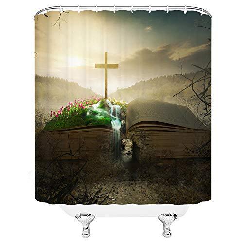 Cortina de ducha extra larga Biblia Cross Cortina de ducha impermeable extra larga cortina de baño para baño con 12 ganchos