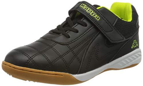 Kappa Kinder Sportschuhe Furbo Kids | helle Laufsohle für Hallensport und Training | schnelles An- & Ausziehen, dank elastischer Schnürsenkel & Klettverschluss | Kinder Sneakers, schwarz, Größe 33 EU