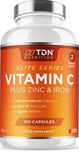 Vitamin C and Zinc Plus Iron - High Strength 1200mg Vitamin C Tablets - 120 Capsules - Contributes to The Maintenance of a Normal Immune System - Premium Ascorbic Acid - Vegan - UK Made by TDN