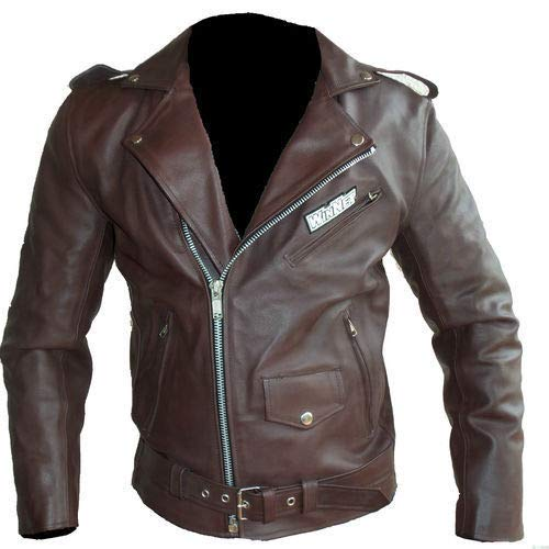 Giacca modello chiodo di pelle in stile moto custom vintage con protezioni removibili (L)