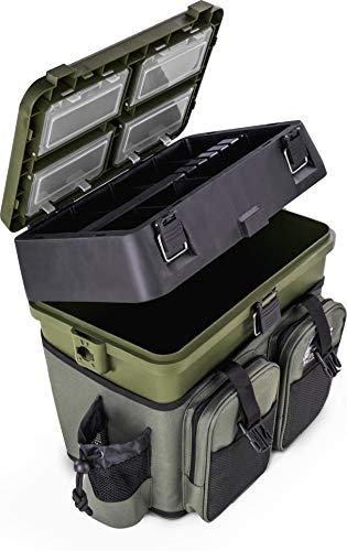normani Sitzkiepe Angelobox Angel-Sitzbox Angelrucksack Angeltasche Angelkoffer Angler-Gerätekasten mit 4 Tackle Boxen Farbe Grün