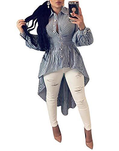 Ophestin Women Stripe Print Long Sleeve Bodycon High Low Asymmetrical Button Down Shirt Blouse Top Blue XXXL