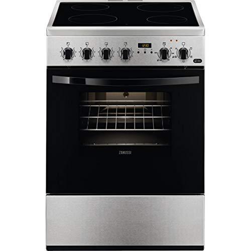 Zanussi ZCV65311XA Cocina independiente 86 x 60 x 60 cm, con placa vitrocerámica de 4 zonas, horno y grill eléctricos, Temporizador electrónico, multifunción de 5 programas, Clase A-10%, Inox