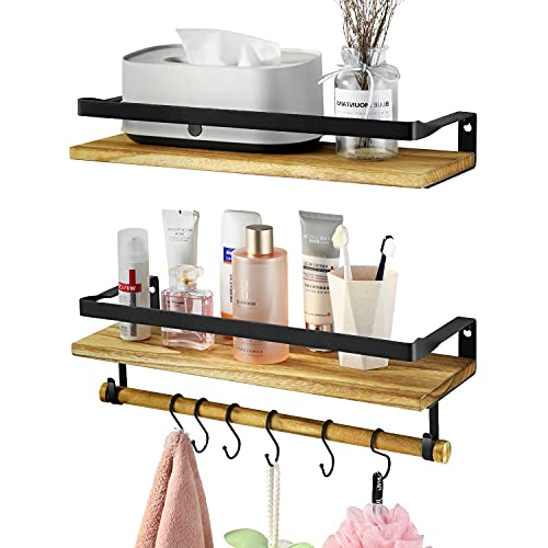 Bathroom Shelves, Xpatee Floating Shelves Wall Mounted Set of 2 with Tower Holder and 6 Hooks, Rust Wood Shelf for Bathroom, Kitchen, Bedroom and Living Room