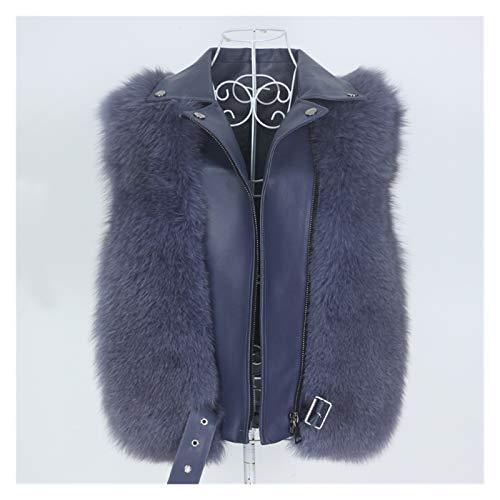 Yanhuigang Chaqueta cálida y cómoda fácilmente. Real Chaleco de Abrigo de Piel Real Chaqueta de Invierno Mujeres Natural Fox Piel de Cuero Genuino Ropa de Exterior Detachable Streetwear Locomotora