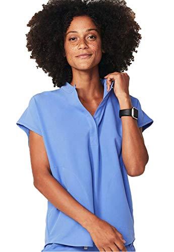 FIGS Rafaela Two-Pocket Mandarin Collar Women Medical Scrub Top (Ceil Blue, XL)